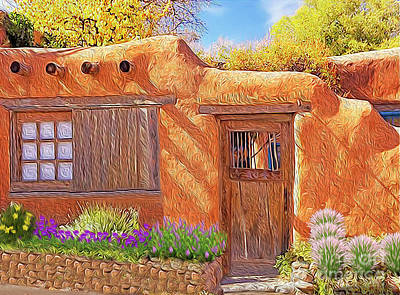 Digital Art - Casa Adobe by Walter Colvin