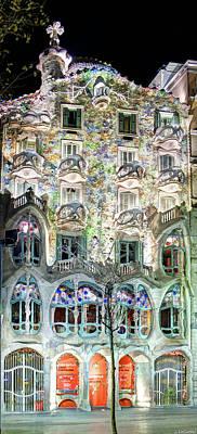 Photograph - Casa Batllo At Night - Gaudi by Weston Westmoreland