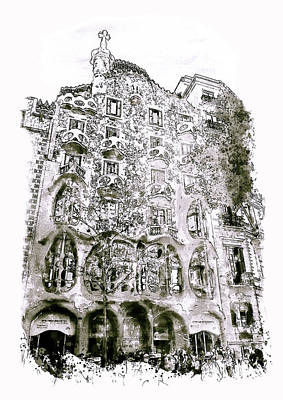 Mixed Media - Casa Batllo Barcelona Black And White by Marian Voicu