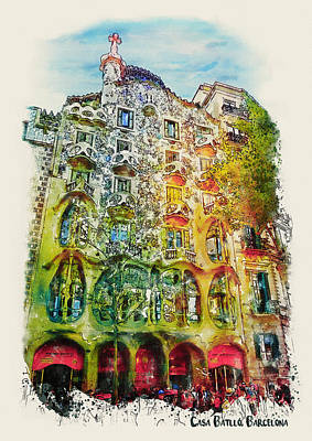 Mixed Media - Casa Batllo Barcelona by Marian Voicu
