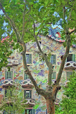 Photograph - Casa Batllo - Plane Tree - Barcelona by Nikolyn McDonald