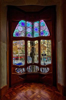 Photograph - Casa Batllo Window Barcelona Spain by Adam Rainoff