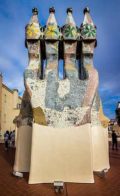 Photograph - Casa Batllo Gaudi Rooftop Chimneys by Adam Rainoff