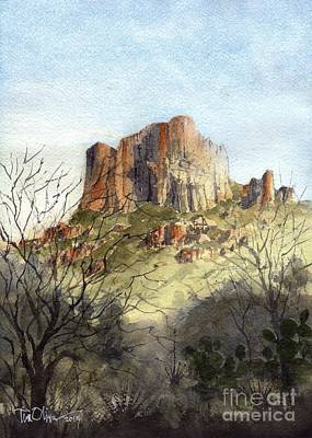 Big Bend Wall Art - Painting - Casa Grande In The Chisos by Tim Oliver