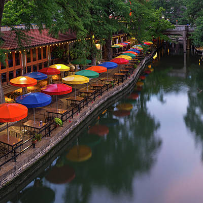 Photograph - Casa Rio Umbrellas Along The San Antonio Riverwalk - Square by Gregory Ballos