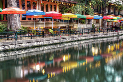 Photograph - Casa Rio Umbrellas - San Antonio Riverwalk by Gregory Ballos