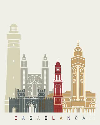 Casablanca Painting - Casablanca Skyline Poster by Pablo Romero