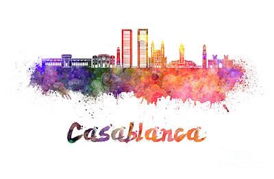 Casablanca Painting - Casablanca V2 Skyline In Watercolor by Pablo Romero
