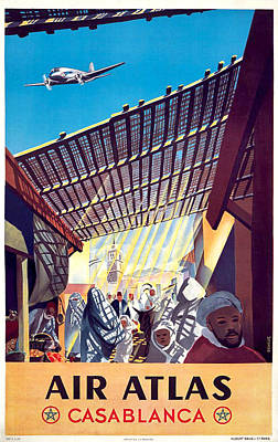Casablanca Wall Art - Painting - Casablanca, Vintage Airline Poster by Long Shot