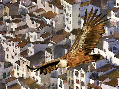 Vulture Mixed Media - Casares Village Vulture by Chris North