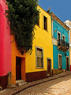 Casas In Pink Orange Yellow Blue Art Print by Mexicolors Art Photography