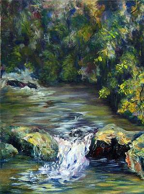 Painting - Cascade In Th Woods by Elaine Bailey