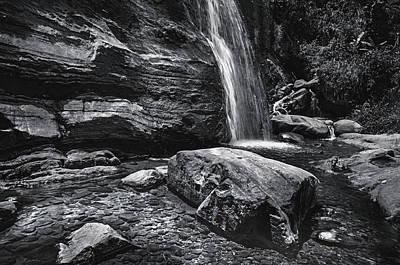 Photograph - Cascade Of Bambarella Saree Ella. Monochrome  by Jenny Rainbow