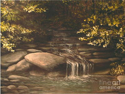 Fall Trees With Stream Painting - Cascade by Penny Neimiller