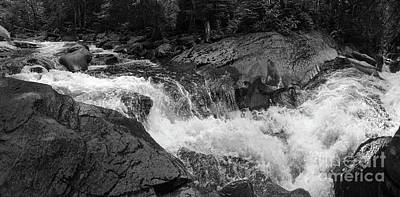 Cascade Stream Gorge, Rangeley, Maine  -70756-70771-pano-bw Art Print