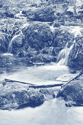 Creek Photograph - Cascades And Bamboos Zen Creek Scenery. Cyanotype Digital Art by Angelo DeVal
