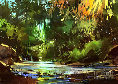 Painting - Cascades In Forest by Tithi Luadthong