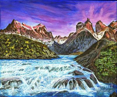 Grande Painting - Cascades In Patagonia Painting by Timothy Hacker