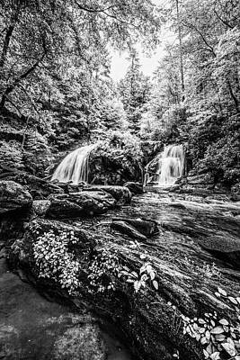 Photograph - Cascades In The Forest In Summer Black And White by Debra and Dave Vanderlaan