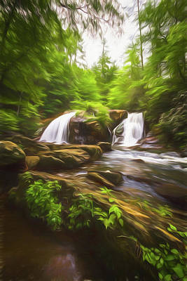 Digital Art - Cascades In The Forest In Summer Painting by Debra and Dave Vanderlaan