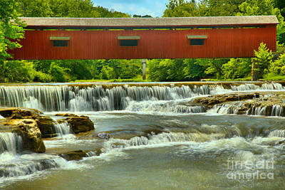 Photograph - Cascades Under The Cataract Falls Covered Bridge by Adam Jewell