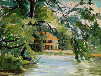 Cascadilla Boathouse Ithaca New York Original by Ethel Vrana