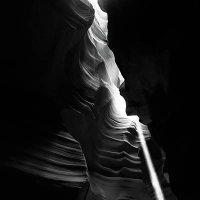 Photograph - Cascading Shadows - Antelope Canyon Arizona Black And White by Gregory Ballos