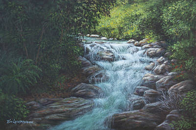 Art Print featuring the painting Cascading Stream by Kim Lockman