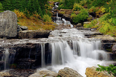 Photograph - Lunch Creek Falls-cascading Water by Larry Kjorvestad