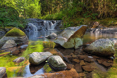 Stream Photograph - Cascading Waterfall At Sweet Creek Falls Trail by David Gn