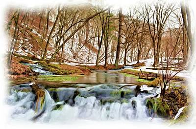 Mixed Media - Cascading Winter Springs Painting by Bonfire Photography