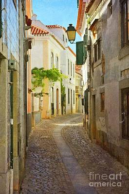 Photograph - Cascais Street - Painted by Mary Machare