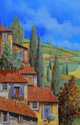 Hills Painting - Case Appoggiate by Guido Borelli