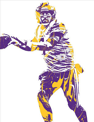 Mixed Media - Case Keenum Minnesota Vikings Pixel Art 1 by Joe Hamilton