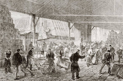 Dock Drawing - Cases Of Tea Being Unloaded From A by Vintage Design Pics