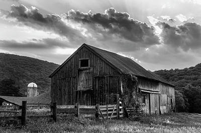 Photograph - Mr Casey's Barn - Black And White Art by Expressive Landscapes Fine Art Photography by Thom