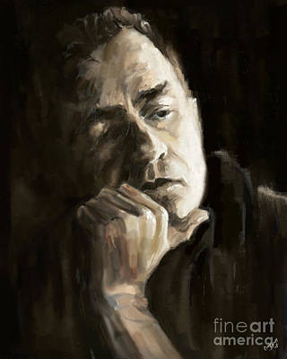 Man In Black Painting - Cash by Carrie Joy Byrnes