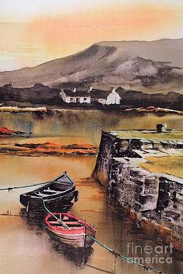 Painting - Cashel Pier Nr Roundstone Galway by Val Byrne