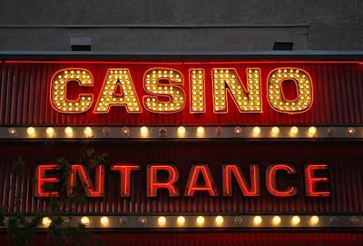 Photograph - Casino Entrance Sign by Matt Harang