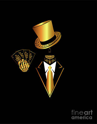 Casino Logo With Skull Icon And Cards, Gold And Black Color Original