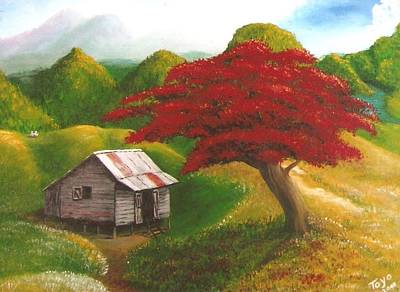 Flamboyan Painting - Casita Feliz by Toyo Perez