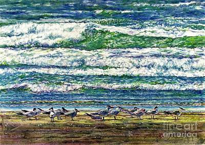 Caspian Terns By The Ocean Art Print