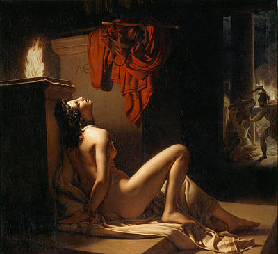 Langlois Painting - Cassandra Imploring The Vengeance Of Minerva Against Ajax by Jerome-Martin Langlois