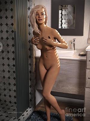 Digital Art - Cassandra Nude Bathroom by Gordon Punt