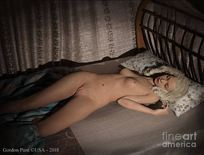 Digital Art - Cassandra Nude Sleeping In Bed by Gordon Punt