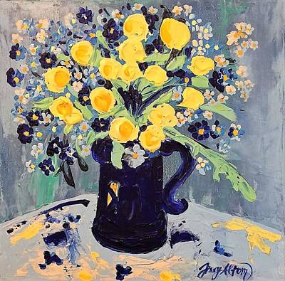 Vergissmeinnicht Painting - Cassandra Yellow And Blue Flowers by Sissy Altom