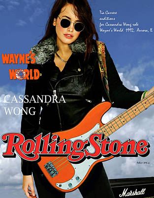 Cassandra Wong, Wayne's World, Tia Carrere, Aurora, Il, 1992, Audition Fender, Mixed Media Original  Original