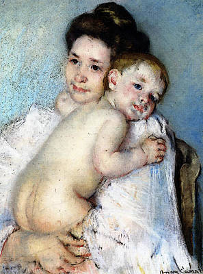 Berthe Digital Art - Cassatt Mary Mother Berthe Holding Her Baby by Mary Cassatt