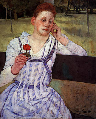 Painted Reveries Digital Art - Cassatt Mary Reverie Aka Woman With A Red Zinnia by Mary Cassatt