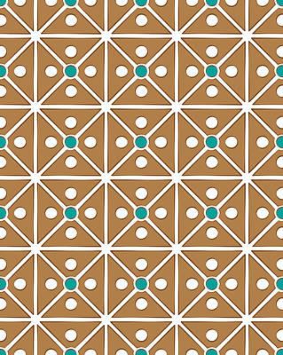 Cassette Brown Abstract Pattern Art Print